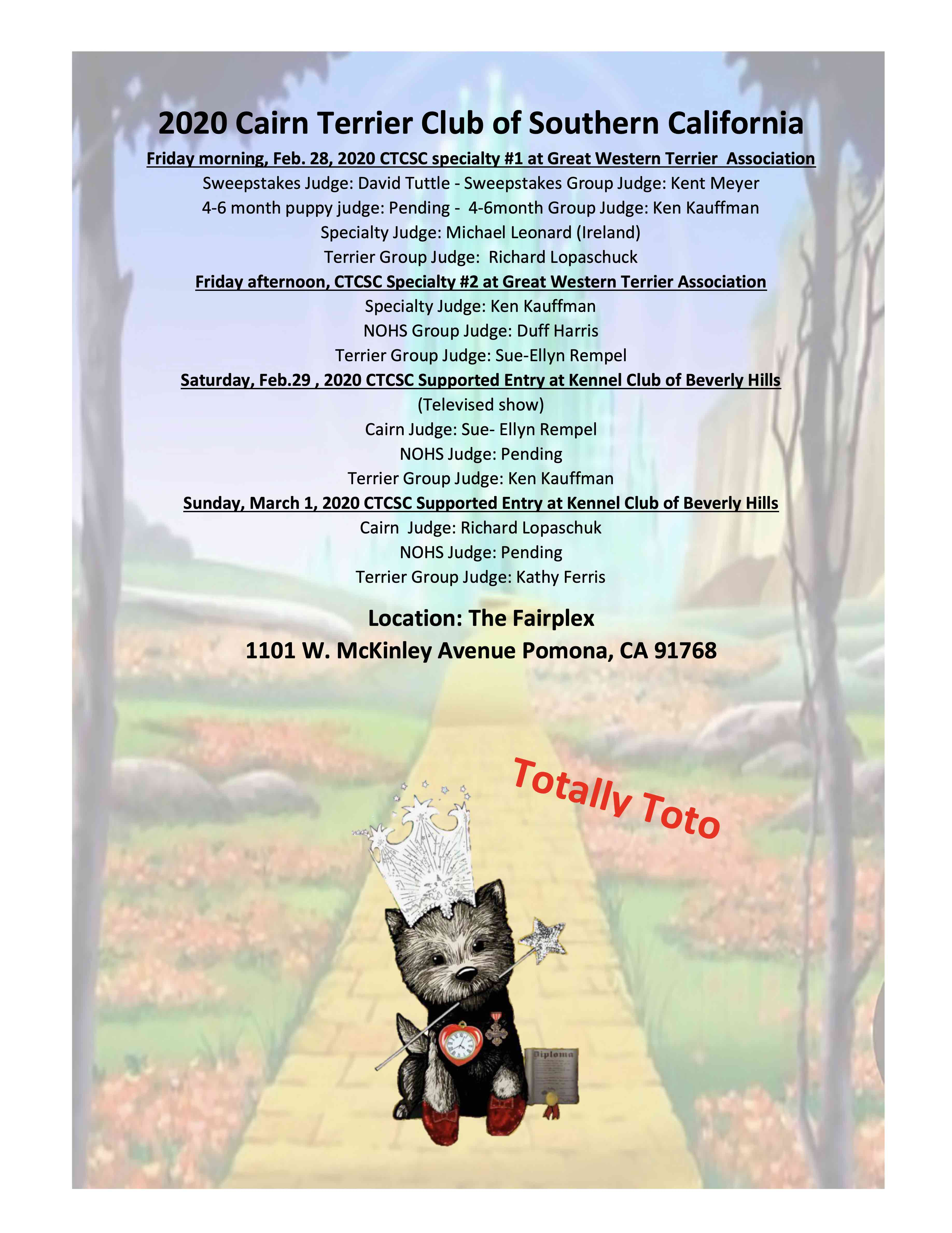 """Cairn Terrier Club of Southern California – """"Totally Toto"""" 2020 Specialty Weekend"""