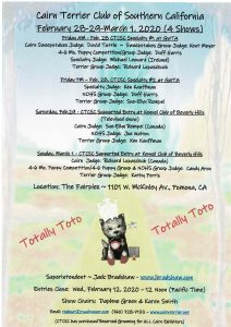 "Cairn Terrier Club of Southern California – ""Totally Toto"" 2020 Specialty Weekend"