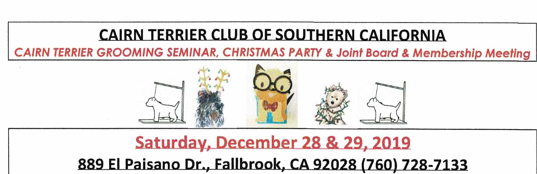 UPDATE – CTCSC Grooming Seminar, Christmas Party  & CTCSC Joint Board & Membership Meeting